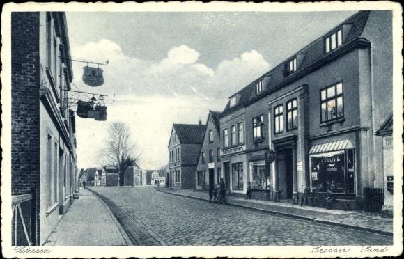 Ak Uetersen in Schleswig Holstein, Großer Sand, Gasthaus, Läden