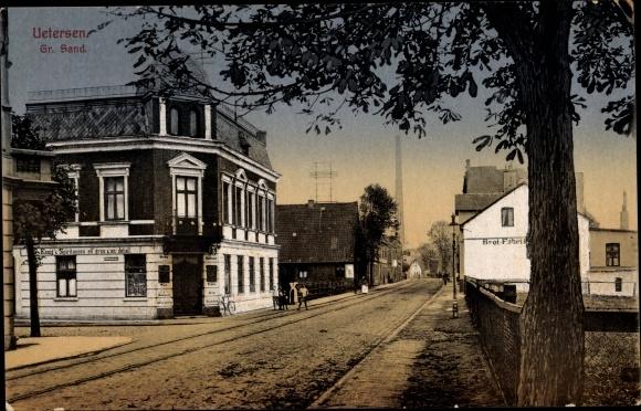 Ak Uetersen in Schleswig Holstein, Großer Sand, Essig's Spirituosen, Brotfabrik