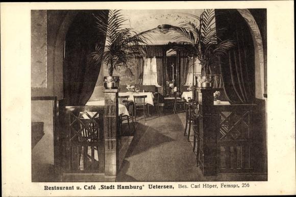 Ak Uetersen in Schleswig Holstein, Restaurant und Café Stadt Hamburg, Innenansicht