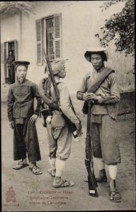Ak Hanoi Tonkin Vietnam, Tirailleurs Tonkinois tenue de campagne