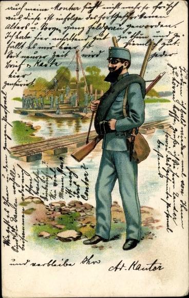 Litho Kuk Soldat, Pioniere errichten eine Pontonbrücke