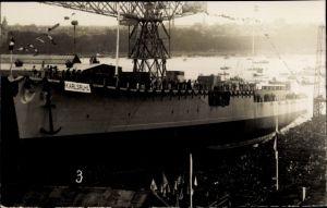 Foto Ak Deutsches Kriegsschiff, SMS Karlsruhe, Stapellauf