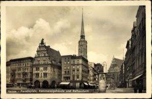 Ak Nysa Neisse Schlesien, Paradeplatz, Kämmereigebäude, Rathausturm