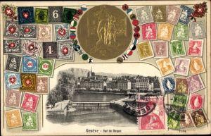 Briefmarken Präge Gold Wappen Ak Genève Genf Stadt, Pont des Bergues