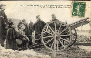 Ak Artillerie Belge, belgische Soldaten, Geschütz, I. WK