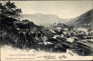 Ak Bellinzona Kt. Tessin Schweiz, Ferrovia del Gottardo, Güterbahnhof