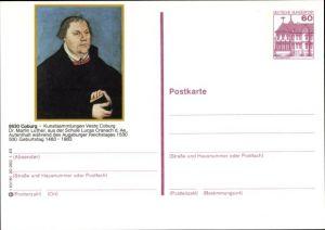 Ganzsachen Ak Coburg in Oberfranken, Kunstsammlungen Veste Coburg, Reformator Martin Luther