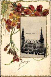 Präge Passepartout Ak Aachen in Nordrhein Westfalen, Rathaus, Blumen
