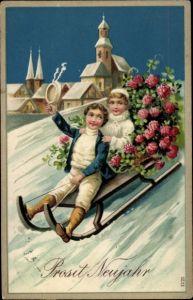 Präge Litho Glückwunsch Neujahr, Kinder im Schlitten, Klee