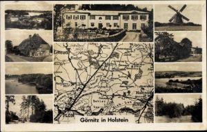 Landkarten Ak Görnitz Grebin Schleswig Holstein, Windmühle, Schloss, Lebrade, Malente, Waldpartie