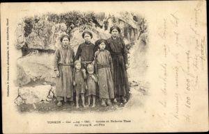 Ak Tonkin Vietnam, Femmes et Enfants Thos, Vietnamesen
