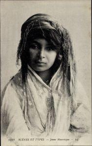 Ak Scenes et Types, Jeune Mauresque, Portrait, Araberin, Maghreb