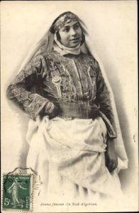 Ak Algerien, Jeune Femme du Sud, Araberin, Portrait, Maghreb