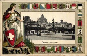 Präge Wappen Passepartout Ak Genève Genf Stadt, Le Kursaal, Helvetia