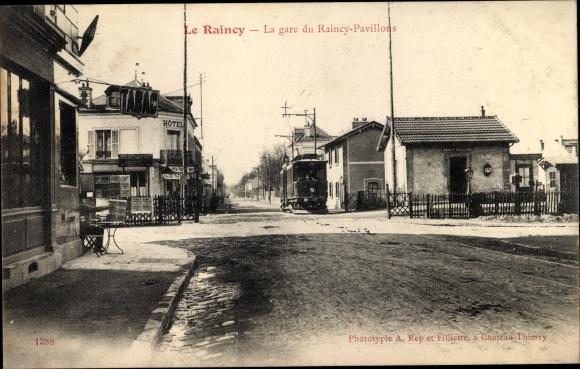 Ak Le Raincy Seine Saint Denis, La Gare du Raincy Pavillons, Tramway