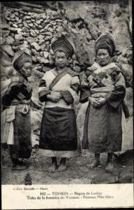 Ak Tonkin Vietnam, Région de Laokay, Tribu de la frontière du Yunnam, Femmes Meo blanc