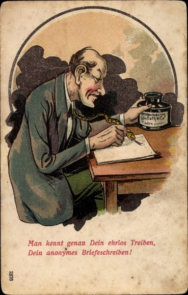 Ak Mann schreibt verleumderische Briefe, Schlange als Füller