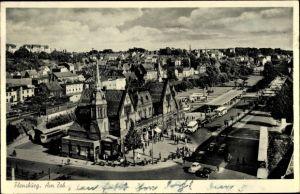 Ak Flensburg in Schleswig Holstein, Am ZOB, Vogelschau