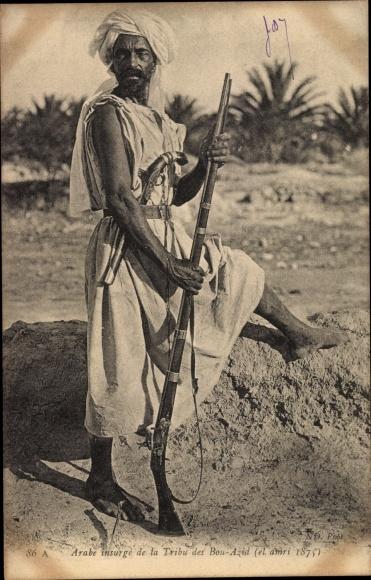Ak Arabe insurgé de la Tribu des Bou Azid, Arabischer Mann mit Gewehr