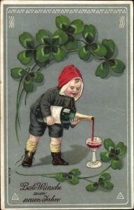 Präge Litho Glückwunsch Neujahr, Kind, Kleeblätter, Sekt