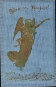 Präge Litho Glückwunsch Neujahr, Engel mit Fanfare