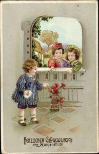 Präge Litho Glückwunsch Namenstag, Kinder, Briefe, Blumen