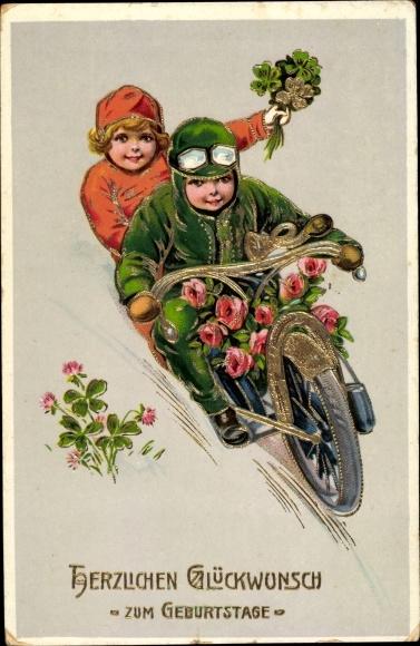Präge Litho Glückwunsch Geburtstag Junge Mädchen Motorrad