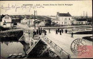 Ak Migennes Yonne, Canal, Première Ecluse du canal de Bourgogne