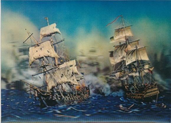 3-D Ak Segelschiffe während einer Schlacht, Kanonenboote