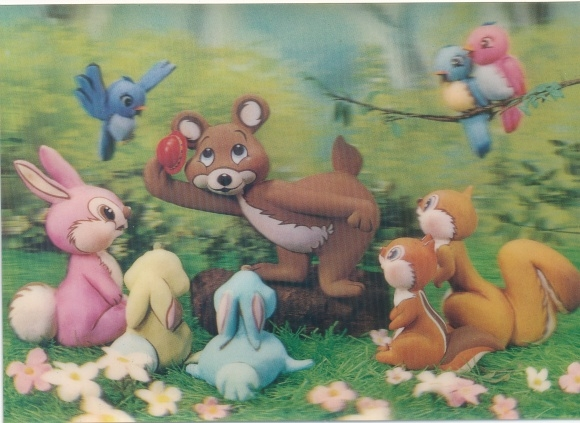 3-D Ak Waldtiere, Bär, Hasen, Eichhörnchen