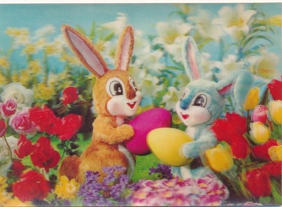 3-D Ak Glückwunsch Ostern, Osterhasen, Ostereier