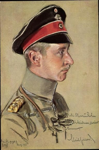 Künstler Ak Kronprinz Wilhelm von Preußen, Totenkopfmütze, Feldstecher