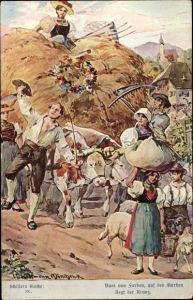 Künstler Ak Kaufmann, Hans, Schillers Glocke, Bunt von Farben auf den Garben, Stroefer
