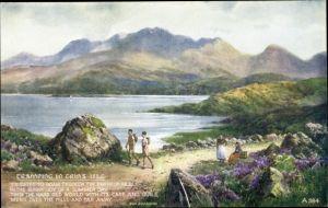 Künstler Ak Irland, Tramping in Erin's Isle, Wanderer, Berge