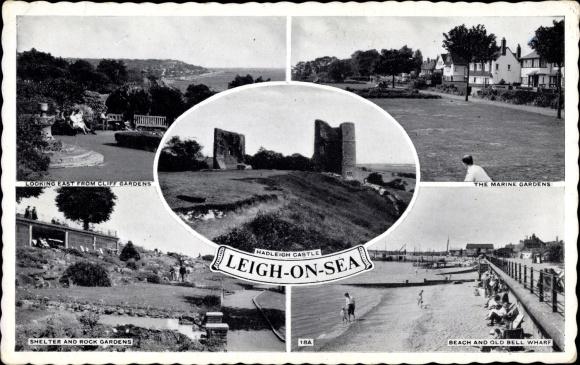 Ak Leigh on Sea Essex England, Marine Gardens, Beach, Old Bell Wharf, Rock Gardens