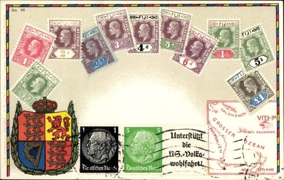 Briefmarken Litho Fiji Fidschi, Großer Ozean