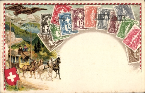Präge Briefmarken Litho Schweiz, Postkutsche