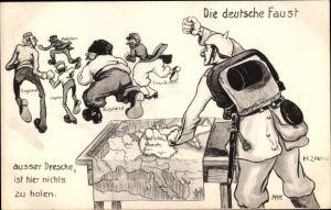 Künstler Ak Zahl, H., Die deutsche Faust, außer Dresche, ist hier nichts zu holen