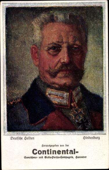 Künstler Ak Generalfeldmarschall Paul von Hindenburg, Continental Reklame