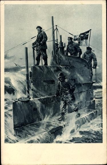 Künstler Ak Stöwer, Willy, Deutsches U Boot, auf dem Kommandoturm, U Boot Tag 1917