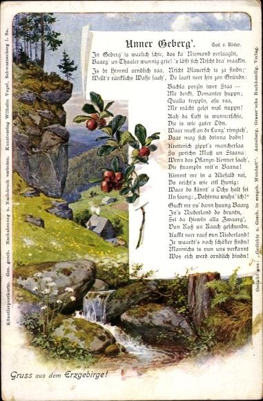 Gedicht Ak Röder, Verlag Wilhelm Vogel, Unner Geberg, Landschaft