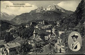 Ak Berchtesgaden in Oberbayern, Panorama mit Frau in Tracht