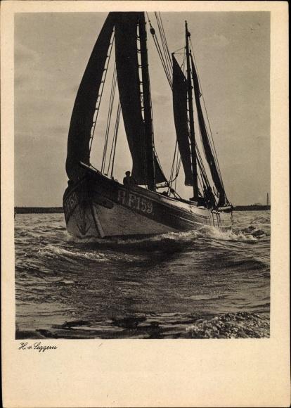 Ak Fischerboot HF159, H. v. Leggern