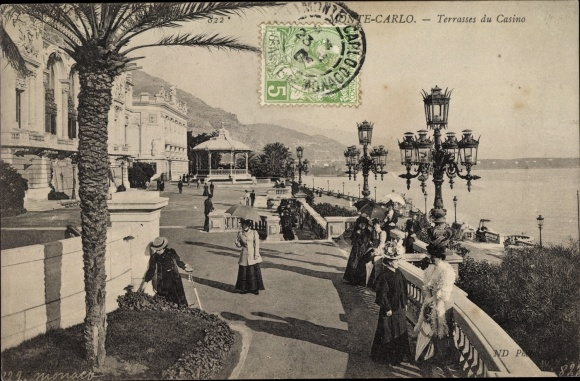 Ak Monte Carlo Monaco, Terrasses du Casino, dames