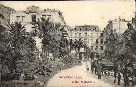Ak Monte Carlo Monaco, Hotel Metropole, Kutscher, Palmen