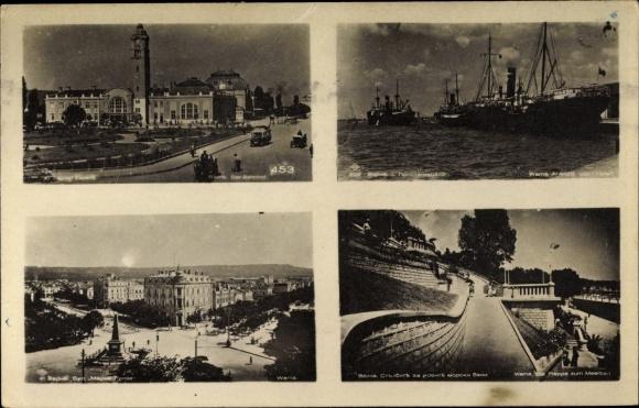 Ak Warna Bulgarien, Bahnhof, Hafenpartie, Denkmal, Treppe zum Meerbad