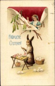 Ak Glückwunsch Ostern, Osterhase bemalt Eier, Mädchen