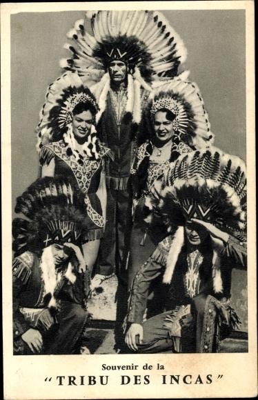 Ak Souvenir de la Tribu des Incas, Indianer, Federschmuck