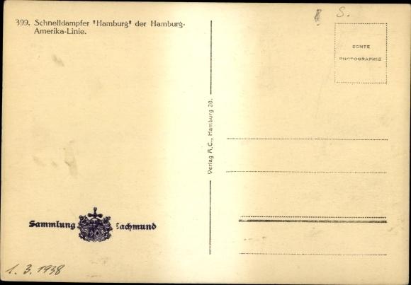 Ak Schnelldampfer Hamburg, HAPAG, Dampfschiff 1