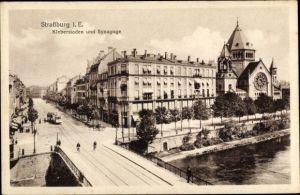 Judaika Ak Strasbourg Straßburg Elsass Bas Rhin, Kleberstaden und Synagoge, Straßenbahn